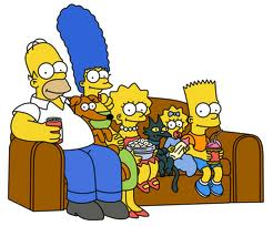 Simpsons sitting on the sofa