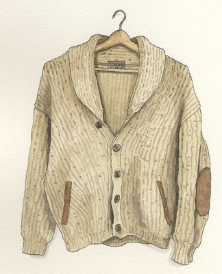 watercolor painting of old sweater