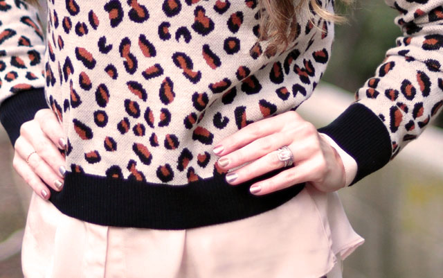 Cheetah sweater, metallic nails