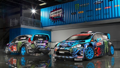 Ken Block rally cars go blue in the face (and everywhere else)