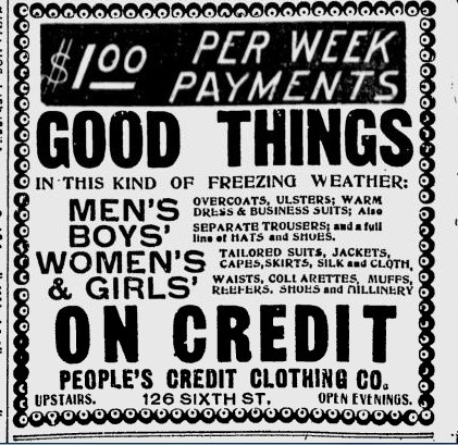 turn of the century america buy clothes on credit