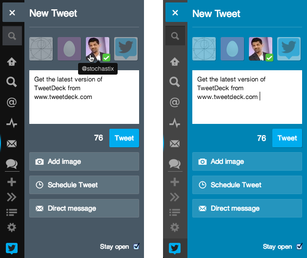 tweet panel in tweetdeck