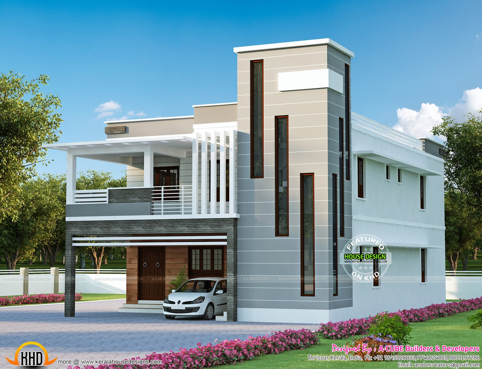 Contemporary mix modern house kerala home design and Modern home design