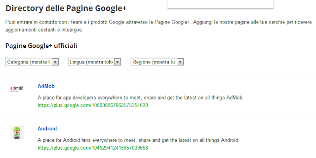 Google+ Pages directory