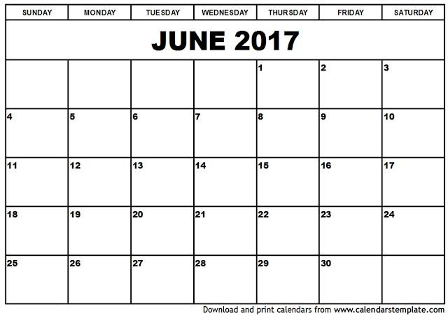 Blank Calendar By Month 2017 – Printable Editable Blank
