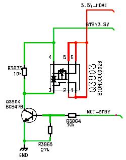 Hình 42 - Đèn  Mosfet thuận Q3803  điều khiển điện áp 3.3V-HDMI