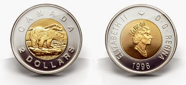 front and back of 1996 toonie