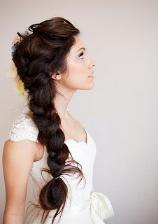 Bride with thick side braid from Sweet Sunday Events