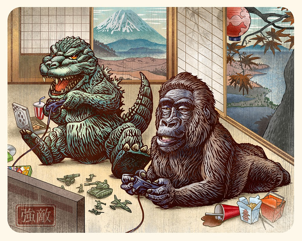 Guzu Gallery presents Strange Beasts 2 A Tribute to the King Group Art Show - Boss Battle (Godzilla vs. King Kong) by Chet Phillips