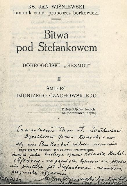 Karta tytułowa książki ks. Jana Wiśniewskiego, Bitwa pod Stefankowem, Mariówka Opoczyńska 1932.