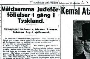 Om judeförföljelserna i Dagens Nyheter den 11 november 1938