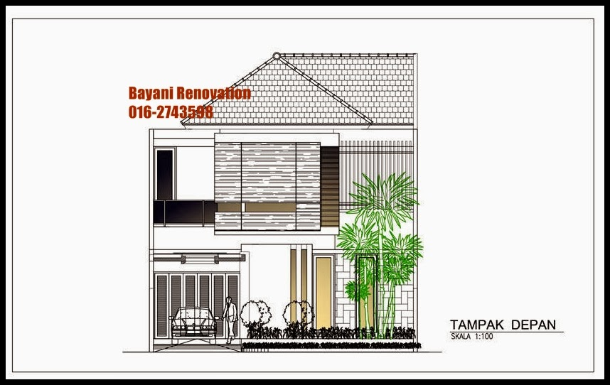 desain rumah semi banglo moden dua lantai desain pagar