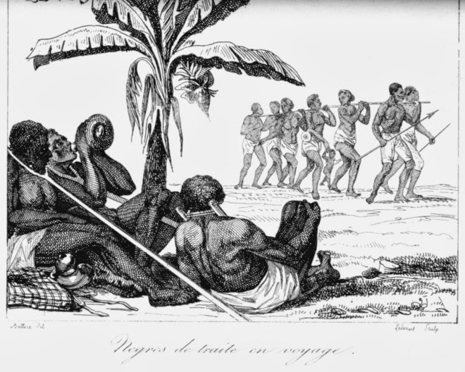 Slave convoy in the shade of a palm tree