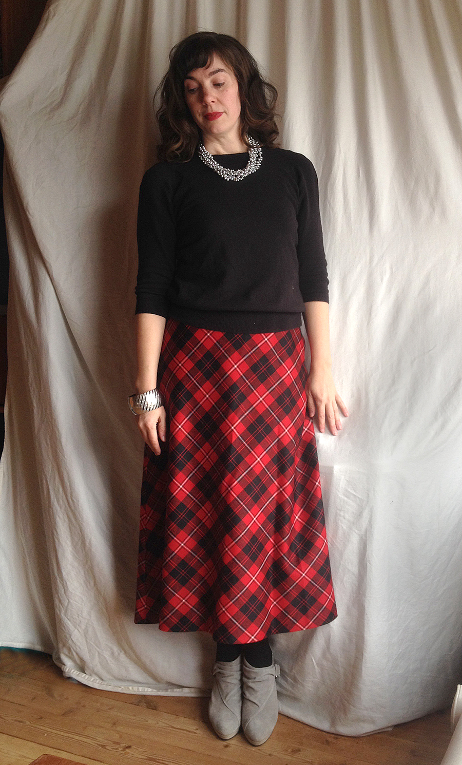 recovery plaid maxi skirt gray booties