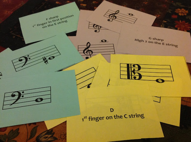 Music flashcards violin viola cello bass elementary orchestra
