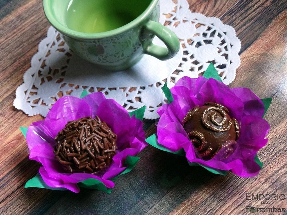 Forminhas flor primavera em papel de seda