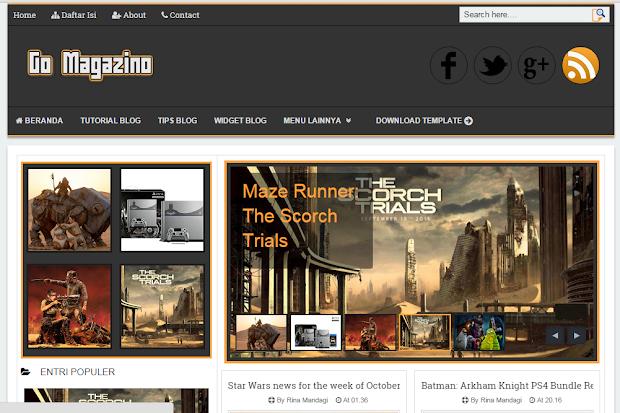 Gomagazino - Template Blogger Responsive Gratis