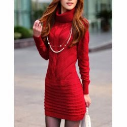 red cable knitted sweater dress