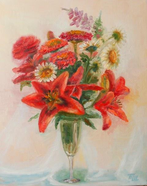 картина холст масло цветы летний букет красные лилии