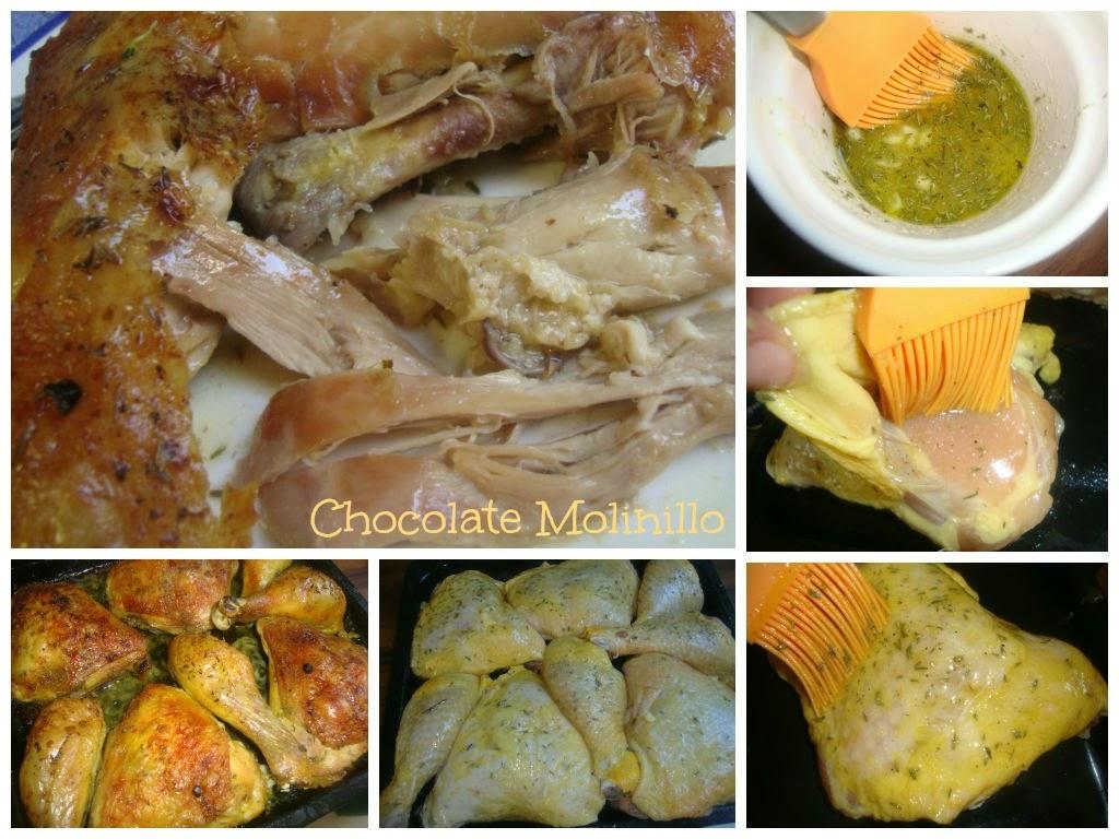 Pollo asado al limón y tomillo
