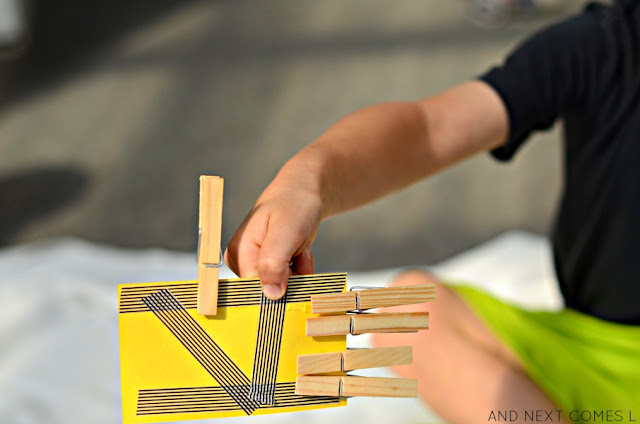 Fine motor math activity for kids to practice Roman numerals from And Next Comes L