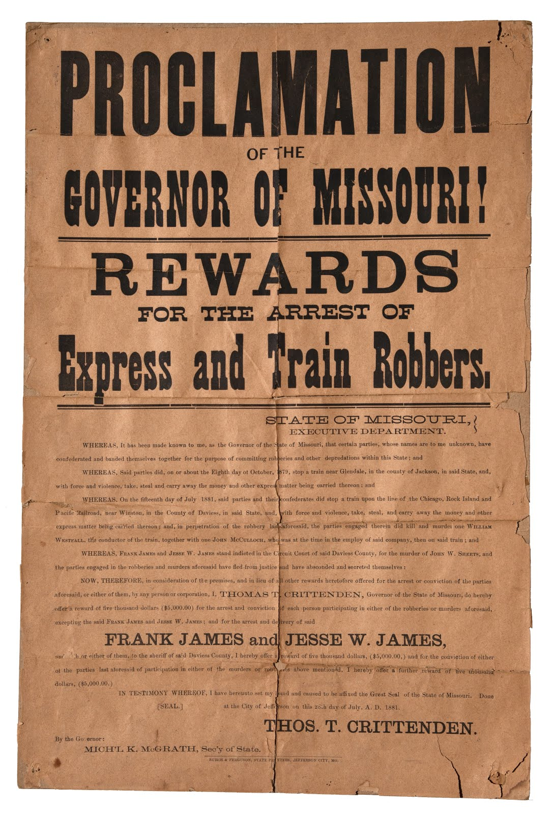 Jesse & Frank James Wanted Poster