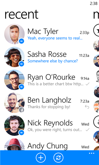 Facebook Messenger on Nokia Lumia 925