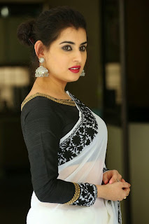 Archana Veda in lovely White Saree with Black Flower Lace and Black Blouse