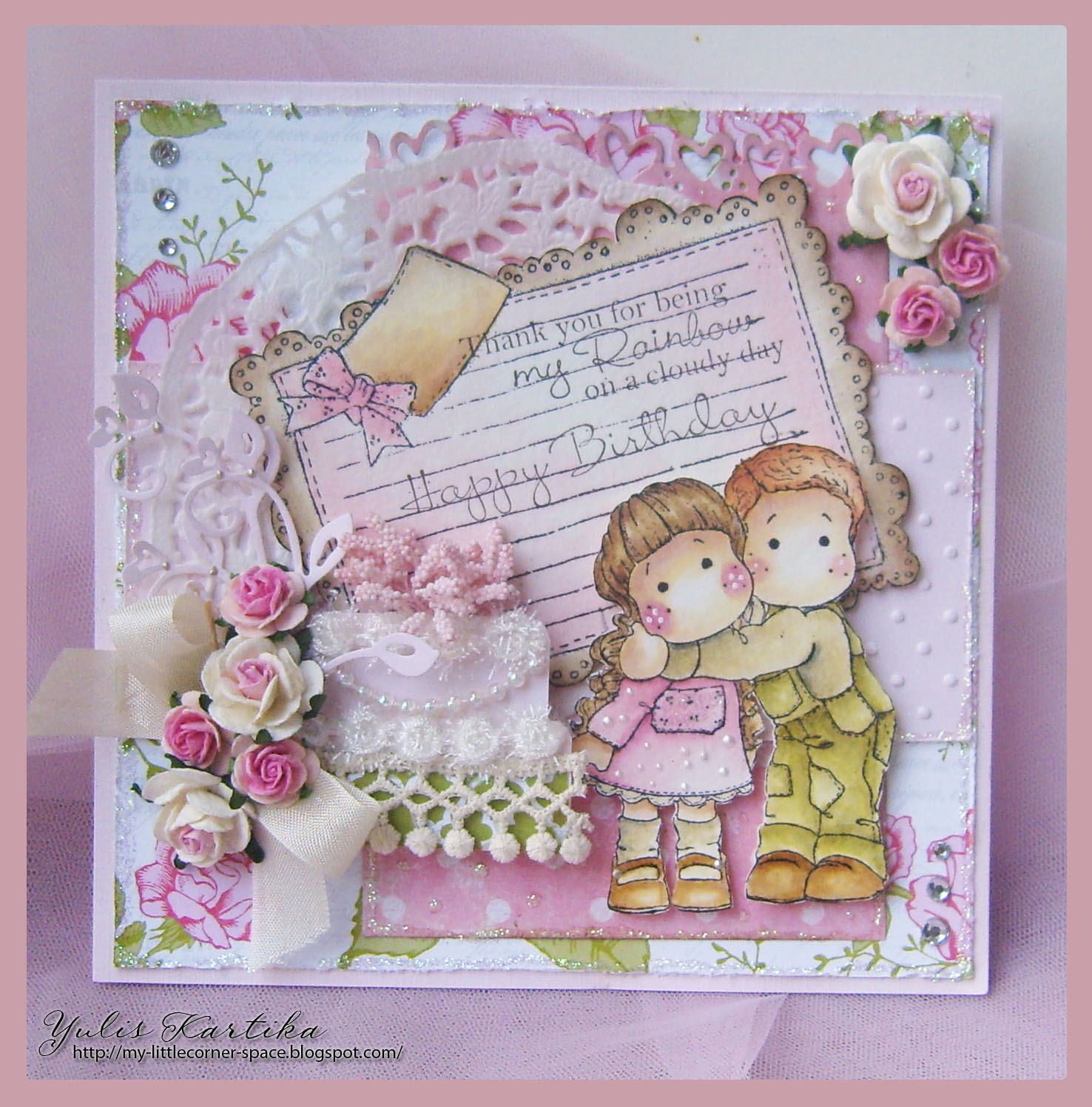 My little corner happy birthday magnolia i love to decorated this card with pink rose flowers and very vanilla seam binding ribbon for imagei used brother and sister from my magnolia collection izmirmasajfo
