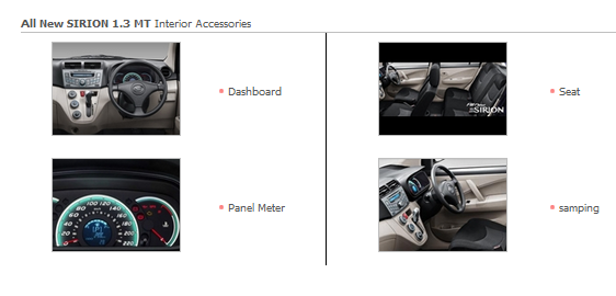 Accessories Interior All New SIRION 1.3 MT