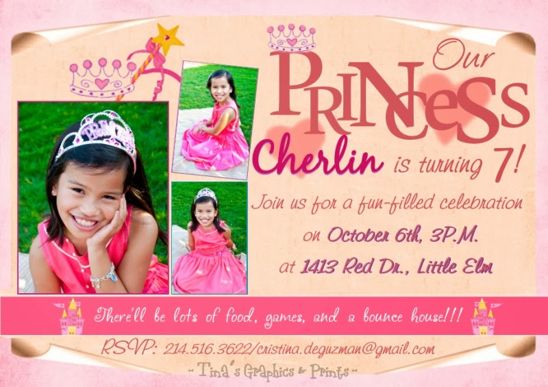 Princess Themed 7th Birthday Party INVITATION