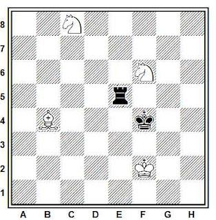 Estudio artístico de ajedrez compuesto por H. Rinck (La stratégie, 1920)