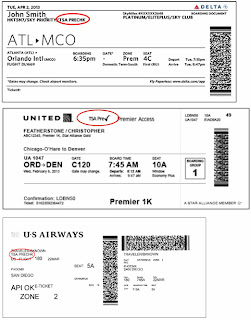 Examples of Boarding Passes with the TSA Pre✓™ Logo Circled