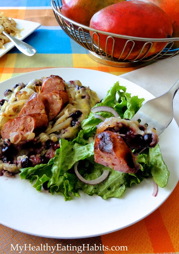 http://www.myhealthyeatinghabits.com/2014/01/07/wild-blueberry-polenta-with-grilled-onions-and-sausage/