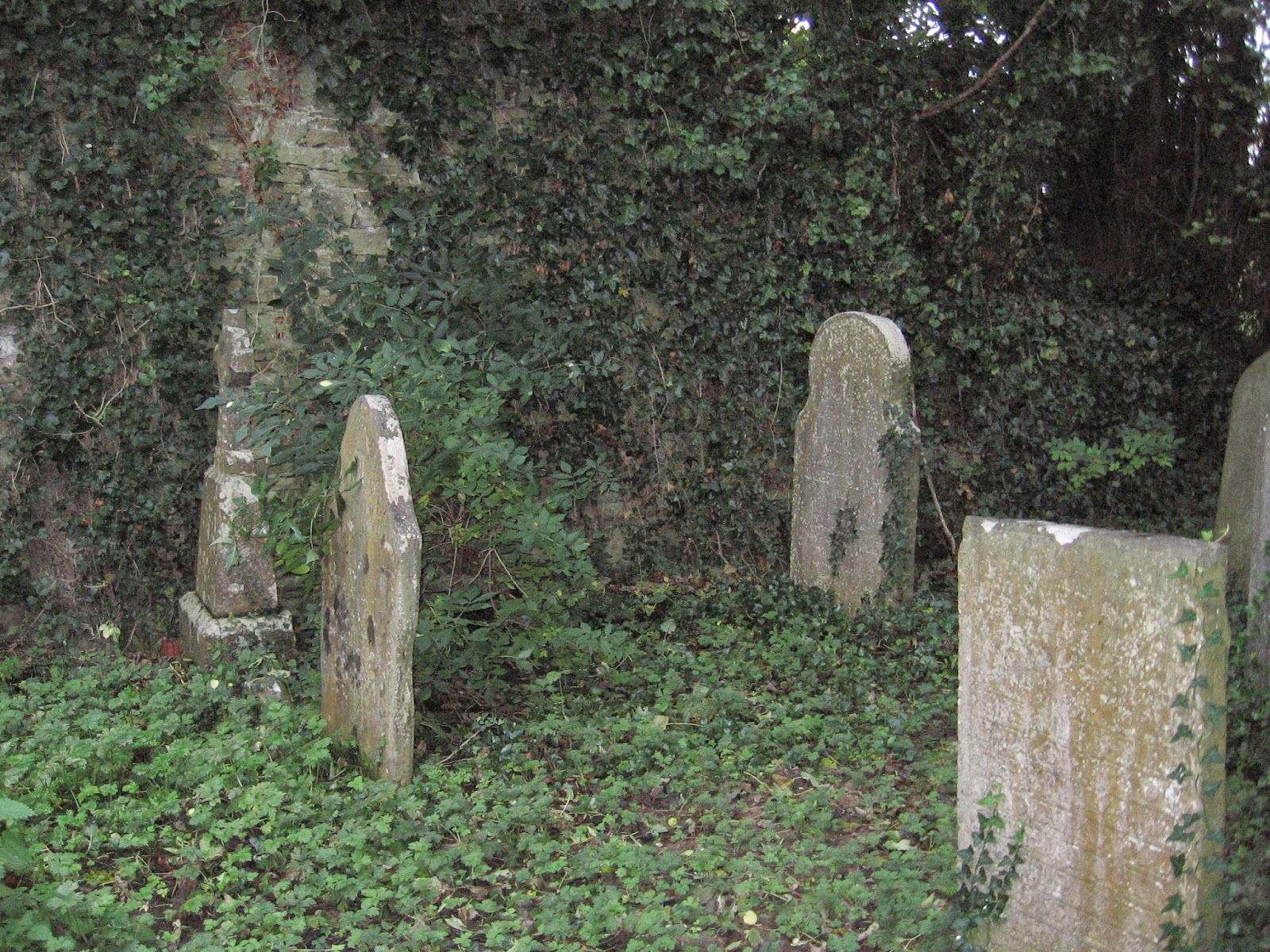 Headstones at Catholic church ruins at Castletown in the church parish of Ballyagran in County Limerick Ireland