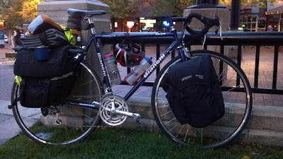 Bicycle packed with camping gear