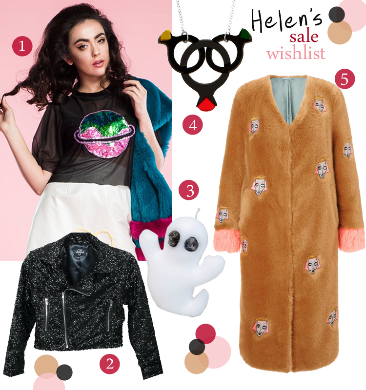 Best of the sales, Sale Picks, Isolated Heroes sequin planet crop top, Valfre black glitter biker jacket, Little Lies ghost candle, Tatty Devine Cocktail rings necklace, Shrimps faux fur coat