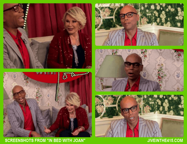 "Screenshots from ""In Bed With Joan"" starring Joan Rivers and special guest  RuPaul Charles."