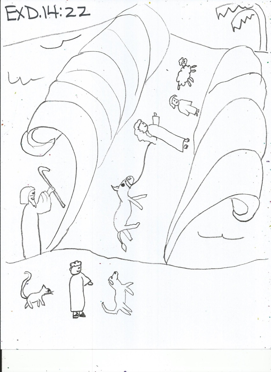 Coloring pages moses parts the red sea - Coloring Activity Pages Moses The Red Sea Crossing Moses