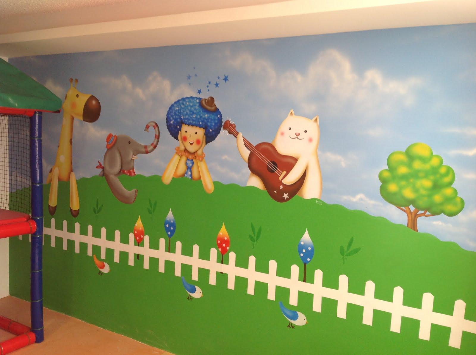 Murales infantiles y arte decorativo pintado a mano por un for Decoracion verano para jardin infantil