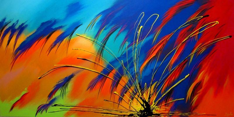 Pinturas cuadros lienzos abstractos colores vivos pintura - Cuadros con colores calidos ...