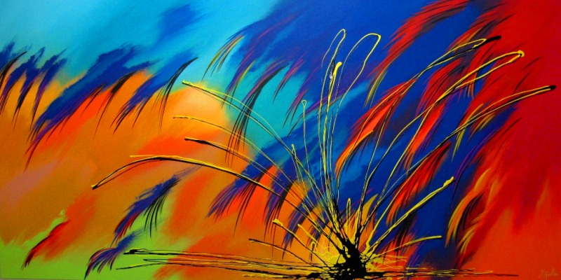 Pinturas cuadros lienzos abstractos colores vivos pintura - Cuadros modernos con mucho color ...