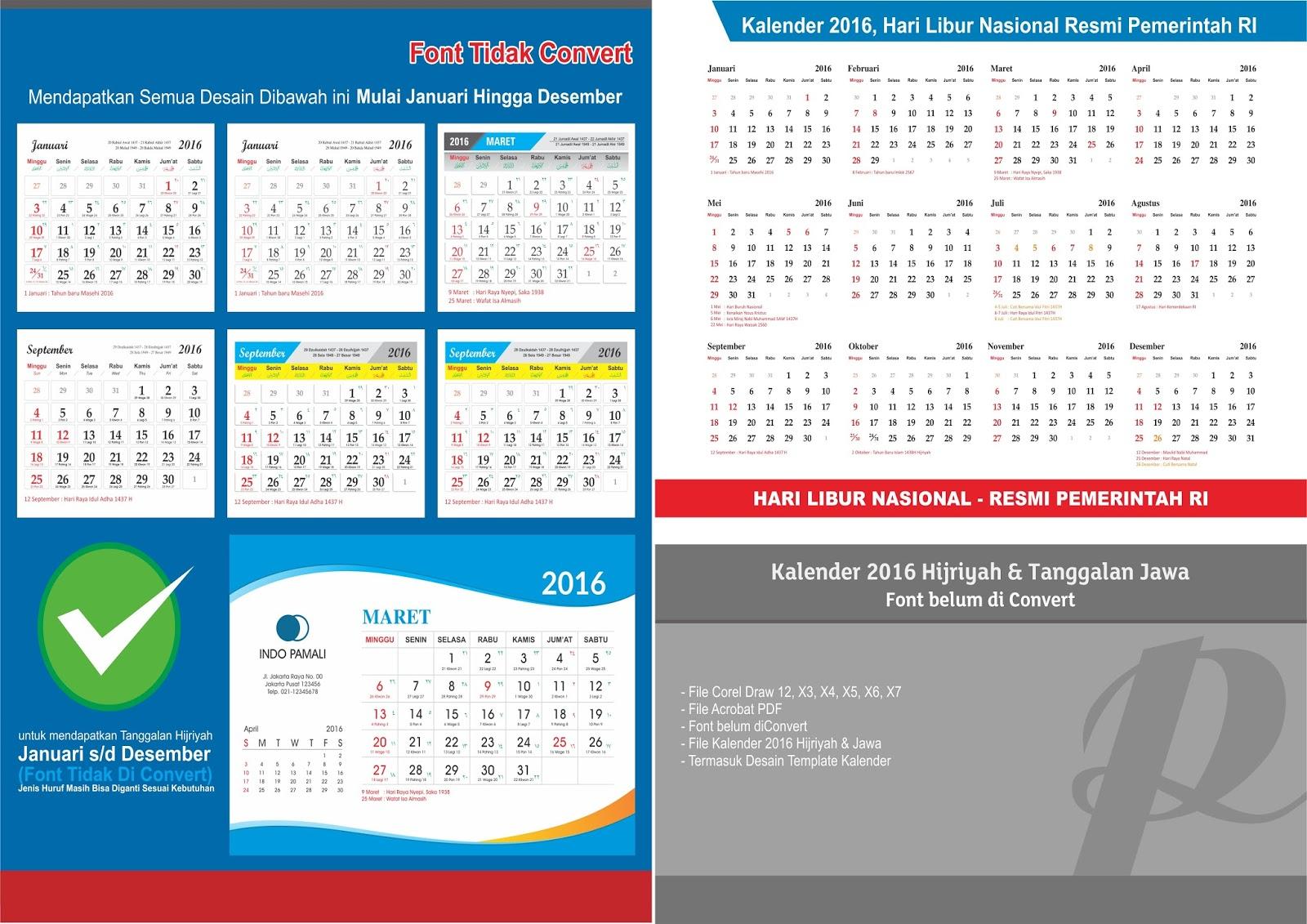 Download Kalender 2016 Terbaru dan Sangat Jelas cocok buat Print