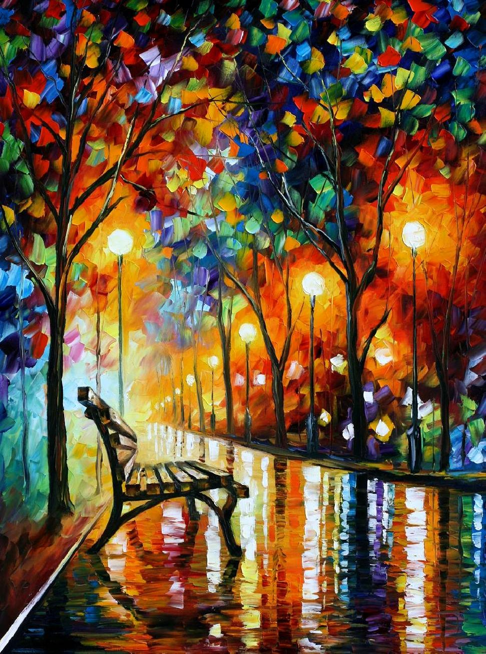 Arquitectura dise o leonid afremov for Artist canvas paint color
