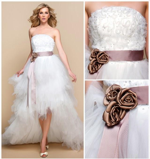 queusar: vestido de novia corte a, strapless, asimetrico y con