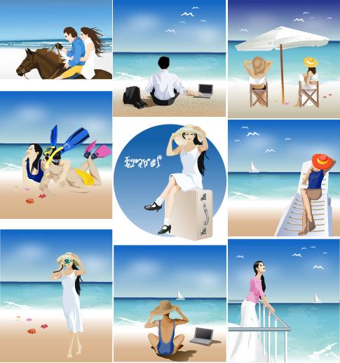 Verano y playa - vector