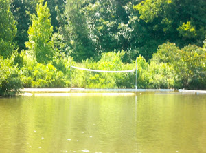 Someone is enjoying the River--that's a water volleyball net!
