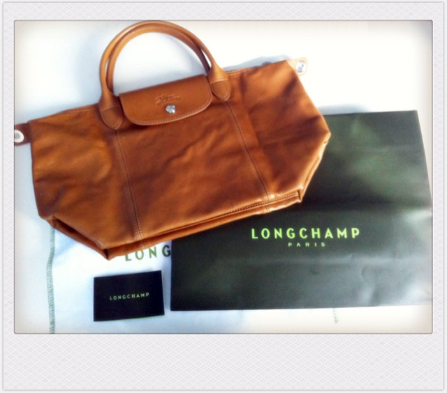 100 Longchamp Le France from Cuir France Authentic In Made Handbag Leather Short Pliage Handle qpq1awA