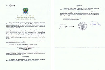 Decree of Bishop Oliveri raising the community to monastery