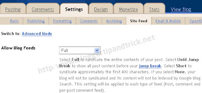 Blogger Feed Settings